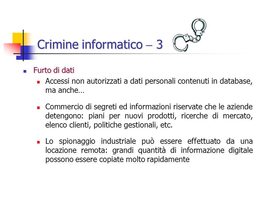Crimine informatico 3 Furto di dati Furto di dati Accessi non autorizzati a dati personali contenuti in database, ma anche… Commercio di segreti ed informazioni riservate che le aziende detengono: piani per nuovi prodotti, ricerche di mercato, elenco clienti, politiche gestionali, etc.