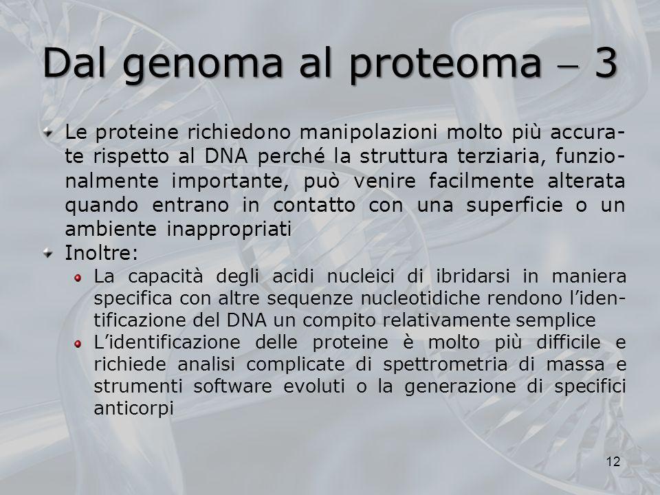 Dal genoma al proteoma 3 Le proteine richiedono manipolazioni molto più accura- te rispetto al DNA perché la struttura terziaria, funzio- nalmente imp