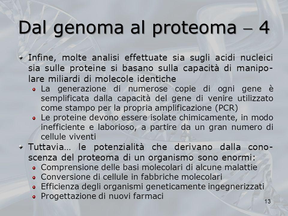 Dal genoma al proteoma 4 Infine, molte analisi effettuate sia sugli acidi nucleici sia sulle proteine si basano sulla capacità di manipo- lare miliard
