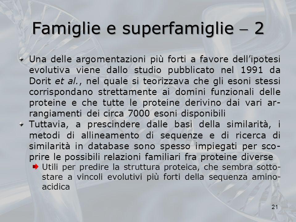 Famiglie e superfamiglie 2 Una delle argomentazioni più forti a favore dellipotesi evolutiva viene dallo studio pubblicato nel 1991 da Dorit et al., n