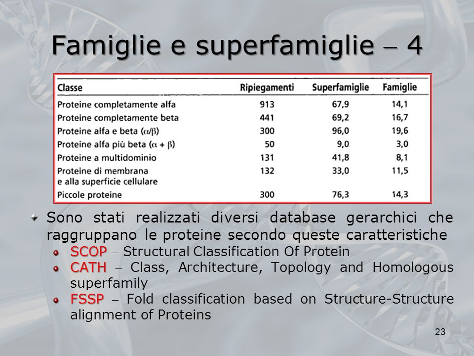 Famiglie e superfamiglie 4 23 Sono stati realizzati diversi database gerarchici che raggruppano le proteine secondo queste caratteristiche SCOP SCOP Structural Classification Of Protein CATH CATH Class, Architecture, Topology and Homologous superfamily FSSP FSSP Fold classification based on Structure-Structure alignment of Proteins