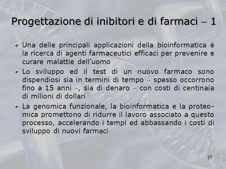 Progettazione di inibitori e di farmaci 1 Una delle principali applicazioni della bioinformatica è la ricerca di agenti farmaceutici efficaci per prev