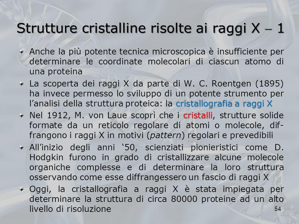 Strutture cristalline risolte ai raggi X 1 Anche la più potente tecnica microscopica è insufficiente per determinare le coordinate molecolari di ciasc