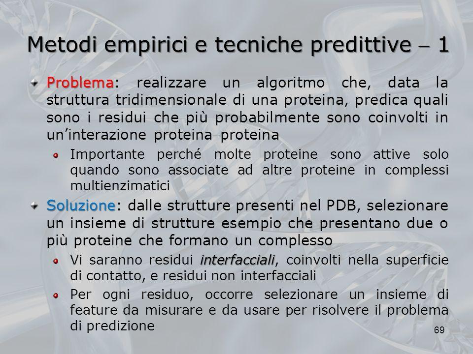 Metodi empirici e tecniche predittive 1 69 Problema Problema: realizzare un algoritmo che, data la struttura tridimensionale di una proteina, predica