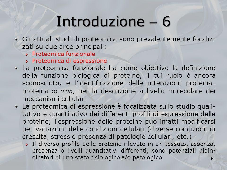 Introduzione 6 Gli attuali studi di proteomica sono prevalentemente focaliz- zati su due aree principali: Proteomica funzionale Proteomica di espressi