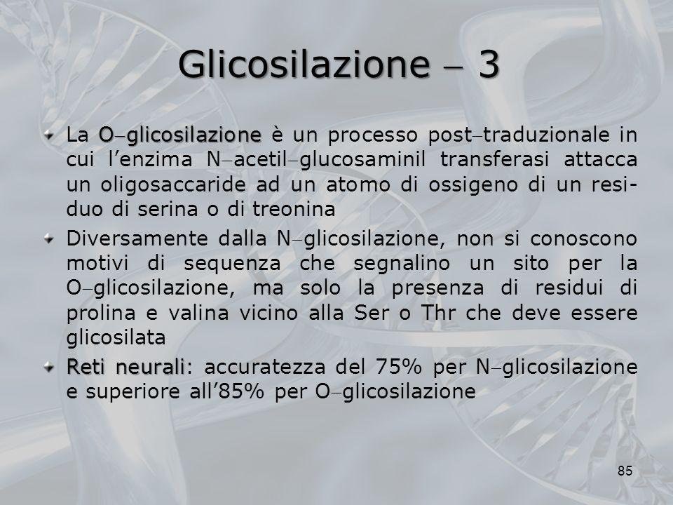 Glicosilazione 3 Oglicosilazione La Oglicosilazione è un processo posttraduzionale in cui lenzima Nacetilglucosaminil transferasi attacca un oligosacc