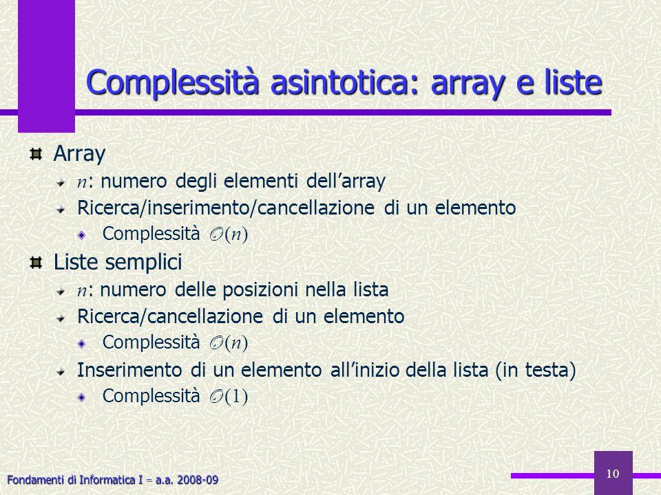 Fondamenti di Informatica I a.a. 2008-09 10 Array n : numero degli elementi dellarray Ricerca/inserimento/cancellazione di un elemento Complessità O (