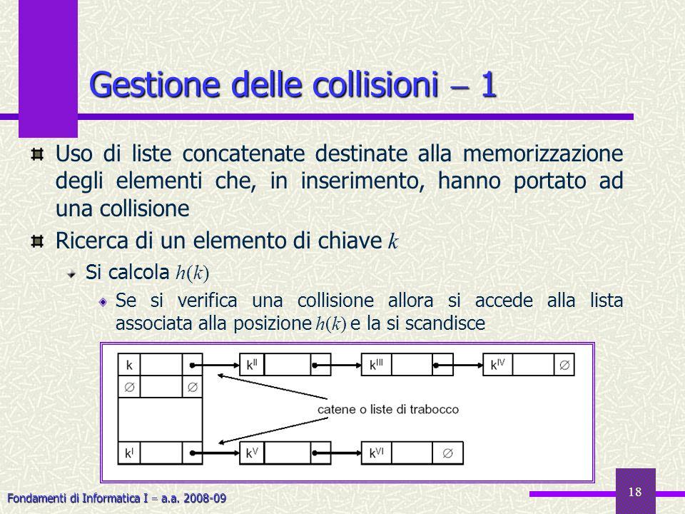 Fondamenti di Informatica I a.a. 2008-09 18 Gestione delle collisioni 1 Uso di liste concatenate destinate alla memorizzazione degli elementi che, in