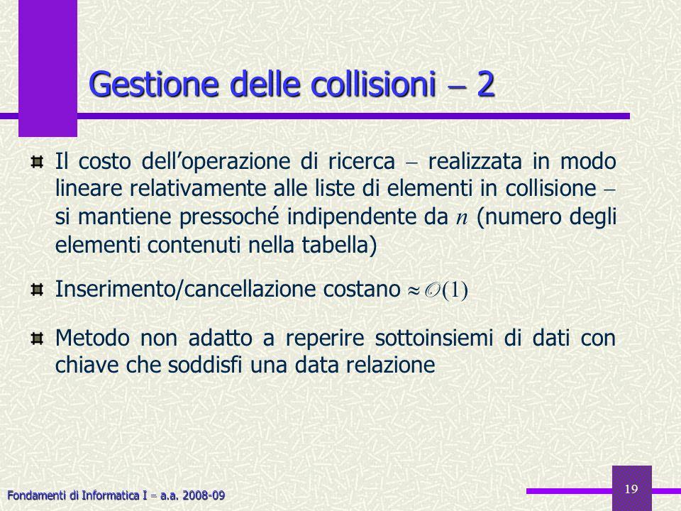 Fondamenti di Informatica I a.a. 2008-09 19 Gestione delle collisioni 2 Il costo delloperazione di ricerca realizzata in modo lineare relativamente al