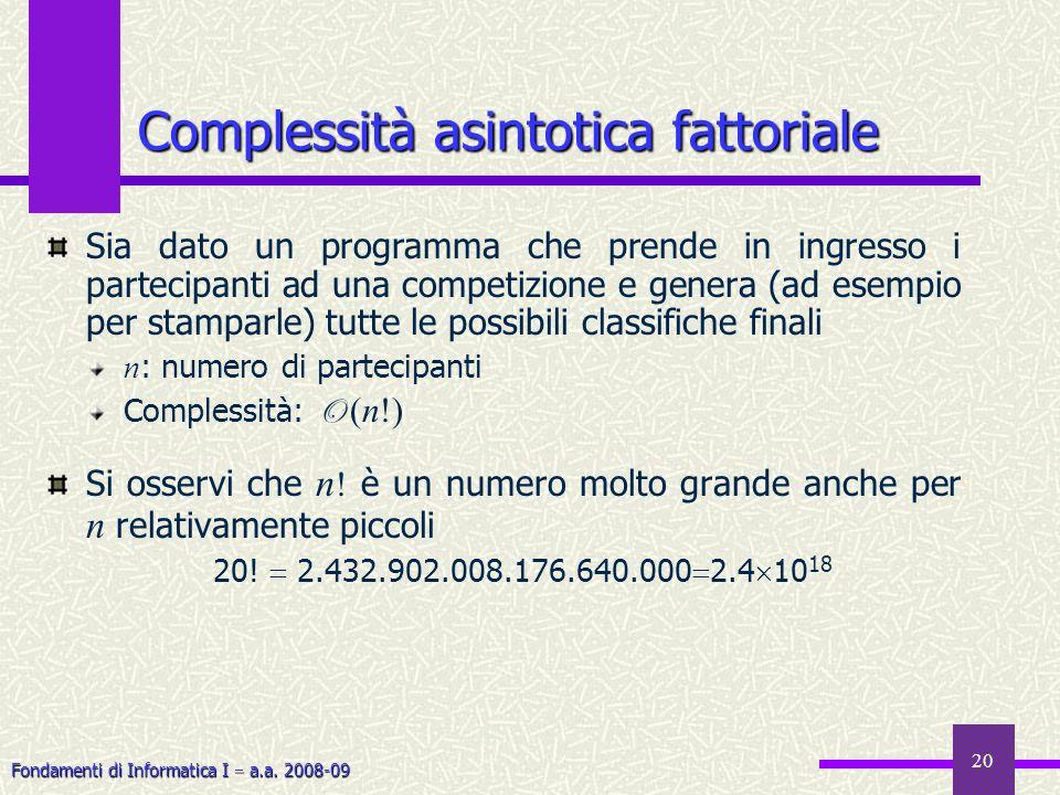 Fondamenti di Informatica I a.a. 2008-09 20 Sia dato un programma che prende in ingresso i partecipanti ad una competizione e genera (ad esempio per s
