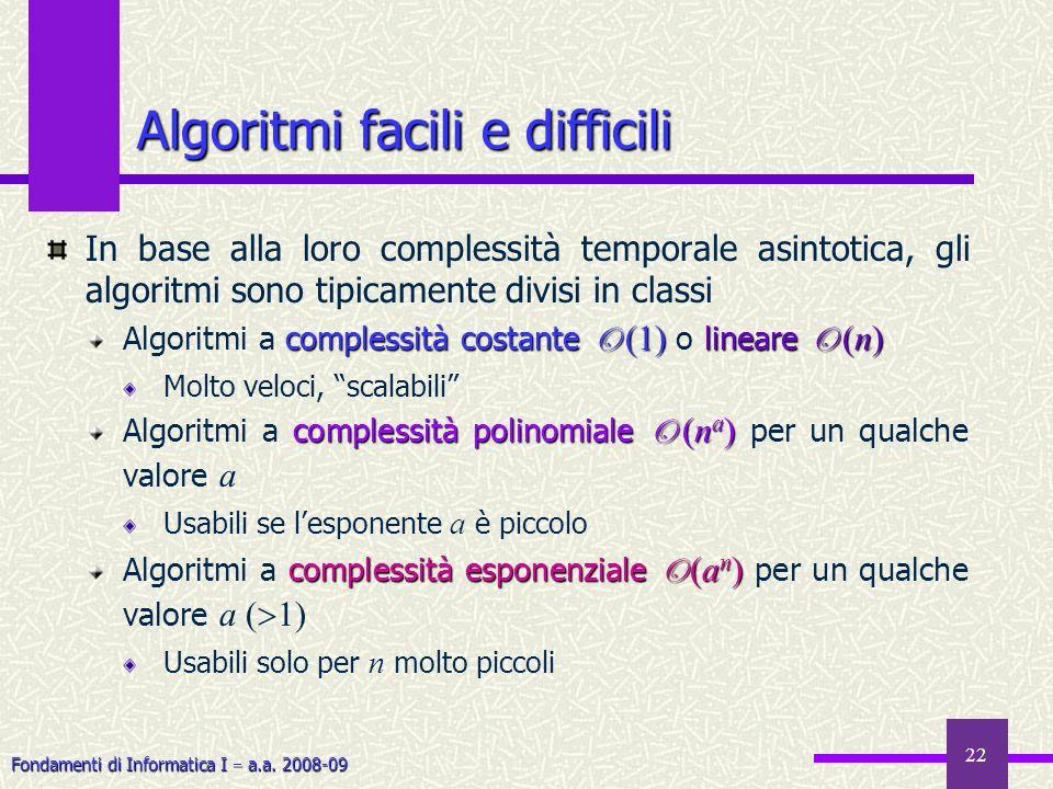 Fondamenti di Informatica I a.a. 2008-09 22 In base alla loro complessità temporale asintotica, gli algoritmi sono tipicamente divisi in classi comple