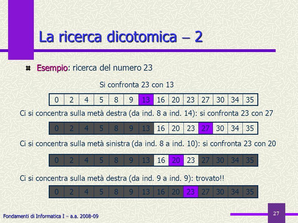 Fondamenti di Informatica I a.a. 2008-09 27 La ricerca dicotomica 2 Esempio Esempio: ricerca del numero 23 0273034352320161398542 Si confronta 23 con