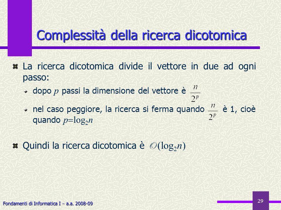 Fondamenti di Informatica I a.a. 2008-09 29 Complessità della ricerca dicotomica La ricerca dicotomica divide il vettore in due ad ogni passo: dopo p