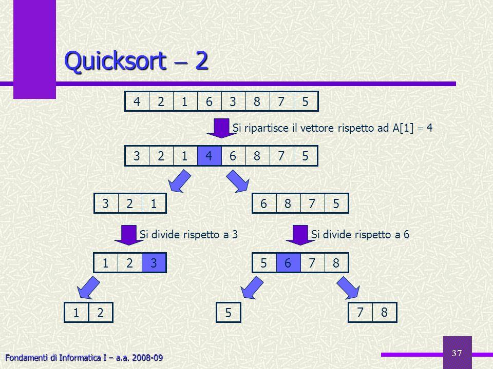 Fondamenti di Informatica I a.a. 2008-09 37 3125786 35786412 132 Si ripartisce il vettore rispetto ad A[1] 4 Si divide rispetto a 3 12 8765 Si divide