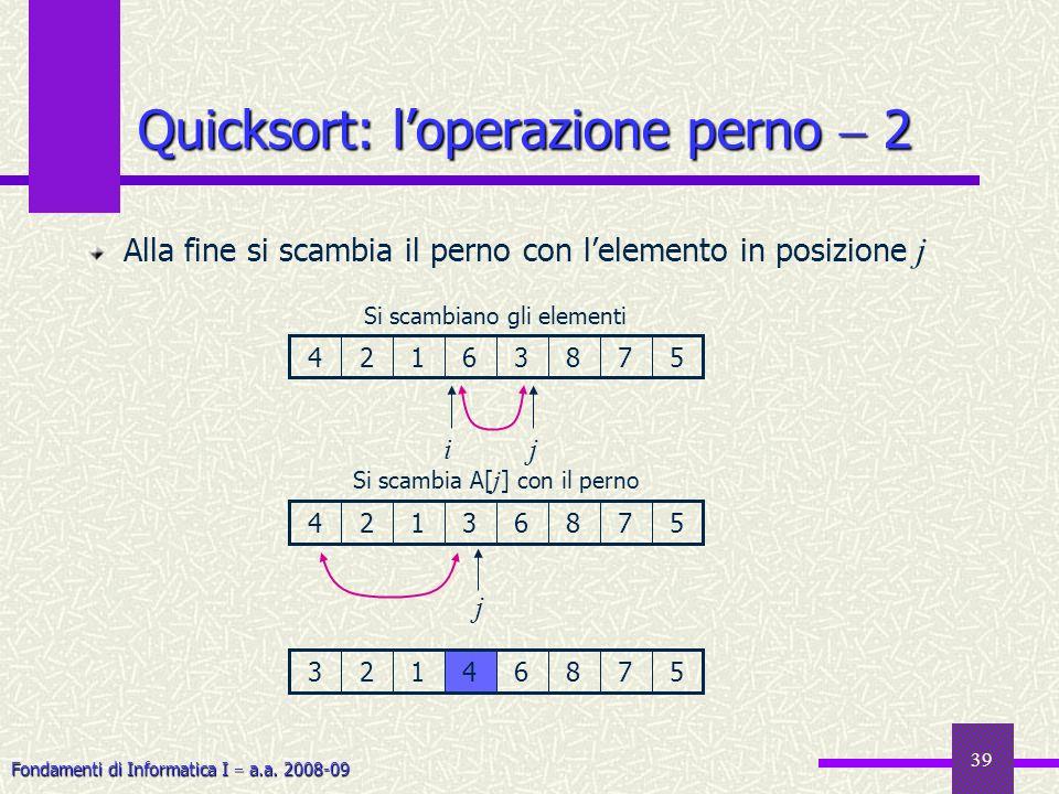 Fondamenti di Informatica I a.a. 2008-09 39 Quicksort: loperazione perno 2 Alla fine si scambia il perno con lelemento in posizione j 45783612 ij Si s
