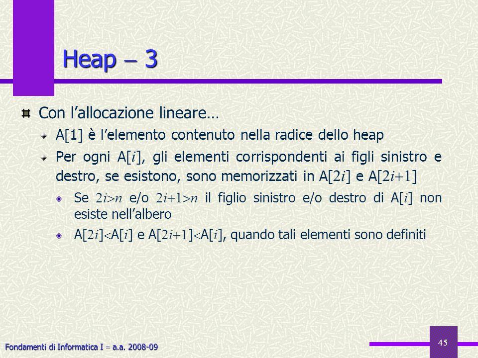 Fondamenti di Informatica I a.a. 2008-09 45 Heap 3 Con lallocazione lineare… A[1] è lelemento contenuto nella radice dello heap Per ogni A[ i ], gli e