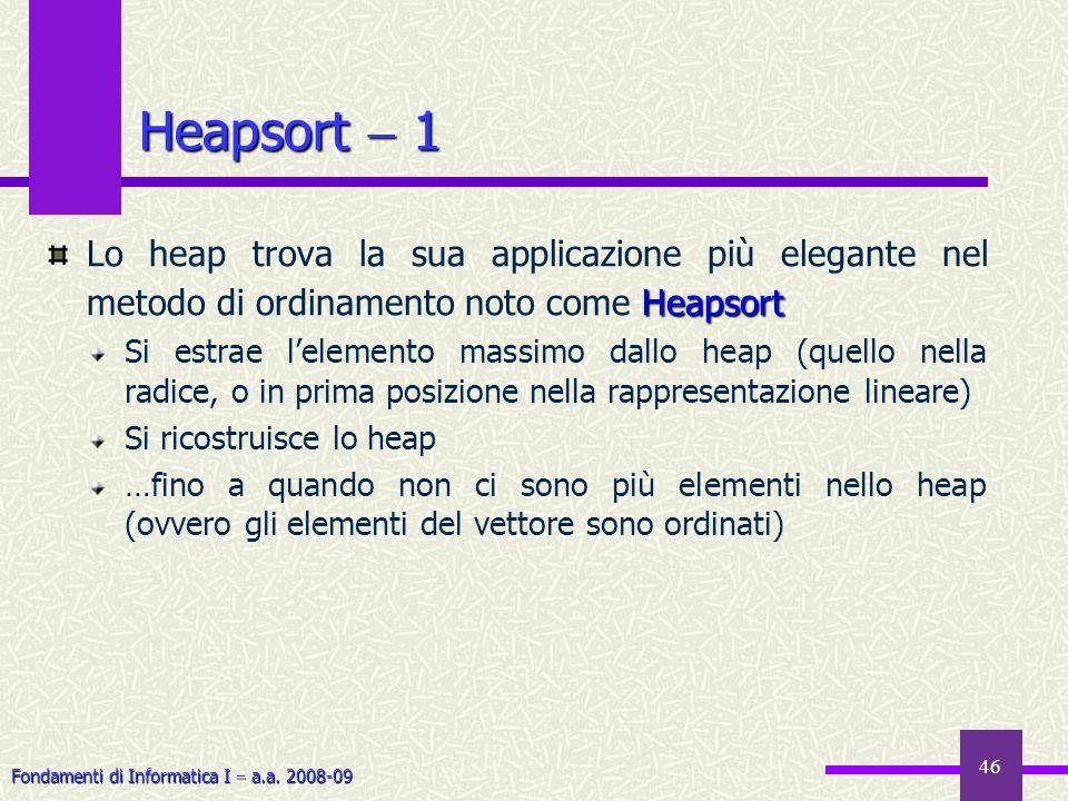 Fondamenti di Informatica I a.a. 2008-09 46 Heapsort 1 Heapsort Lo heap trova la sua applicazione più elegante nel metodo di ordinamento noto come Hea
