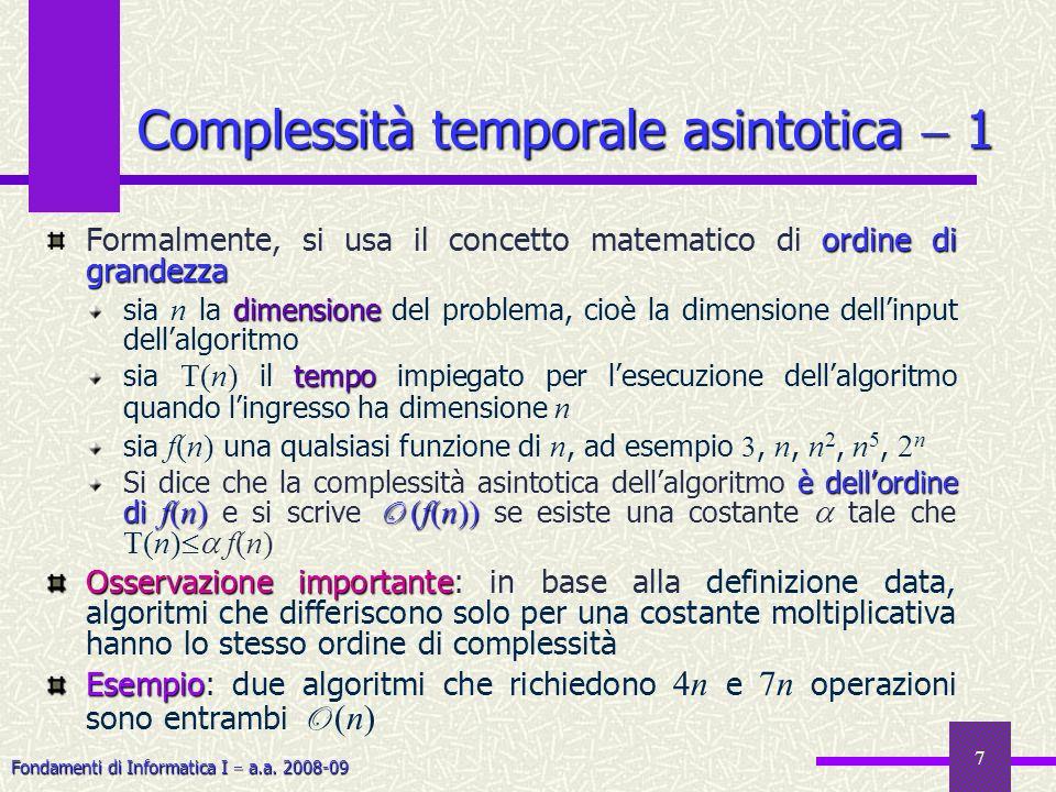 Fondamenti di Informatica I a.a. 2008-09 7 ordine di grandezza Formalmente, si usa il concetto matematico di ordine di grandezza dimensione sia n la d