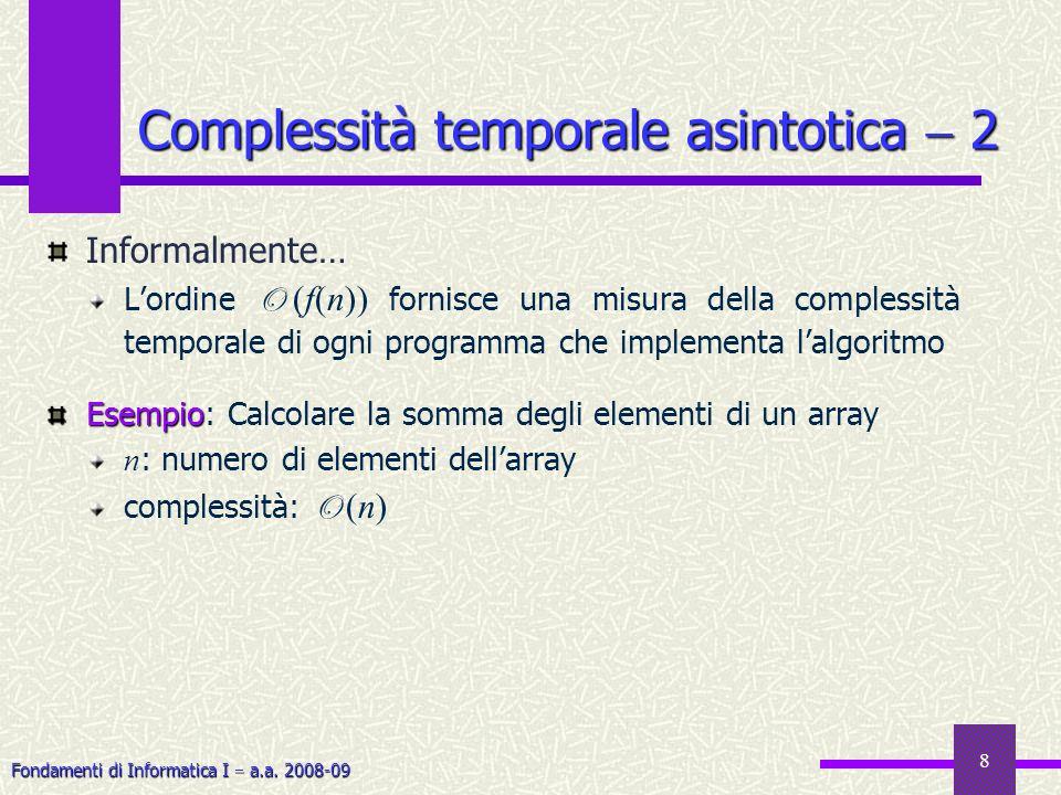 Fondamenti di Informatica I a.a. 2008-09 8 Informalmente… Lordine O (f(n)) fornisce una misura della complessità temporale di ogni programma che imple