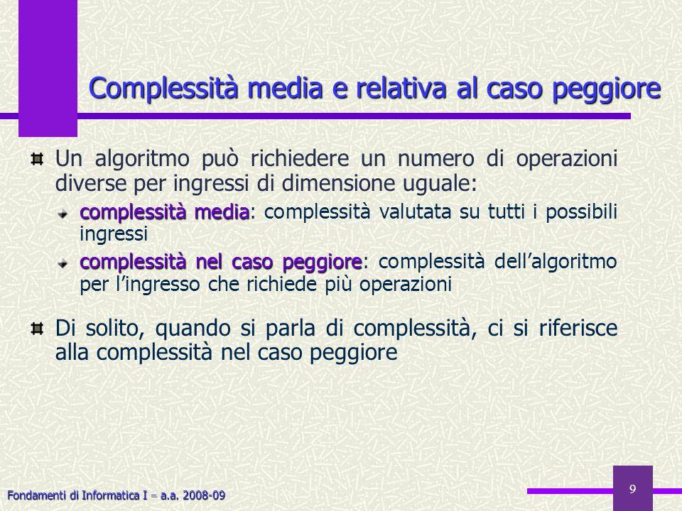 Fondamenti di Informatica I a.a. 2008-09 9 Un algoritmo può richiedere un numero di operazioni diverse per ingressi di dimensione uguale: complessità