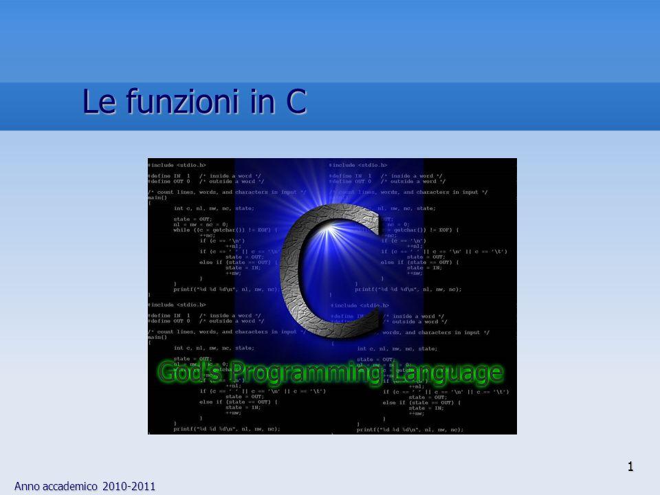 Anno accademico 2010-2011 define FALSE 0 define TRUE 1 void bubble_sort(list, list_size, compare ) int list[], list_size, (*compare)(); { int j, temp, sorted FALSE; while (!sorted) { sorted TRUE; /* assume list ordinato */ for (j 0; j < list_size 1; j ) { if ((*compare)(list[j], list[j 1])) { /* almeno un elemento non in ordine */ sorted FALSE; temp list[j]; list[j] list[j 1]; list[j 1] temp; } } /* fine del ciclo for */ } /* fine del ciclo while */ } 32 define ASCEND compare_ascend define DESCEND compare_descend extern void bubble_sort(); extern int compare_ascend(); extern int compare_descend(); include include sort.h main( ) { static int list[] {1,0,5,444, 332, 76}; define LIST_SIZE (sizeof(list)/sizeof(list[0])) bubble_sort(list, LIST_SIZE, DESCEND); exit(0); } File header sort.h Funzione bubble_sort() Programma principale Una funzione di ordinamento 3
