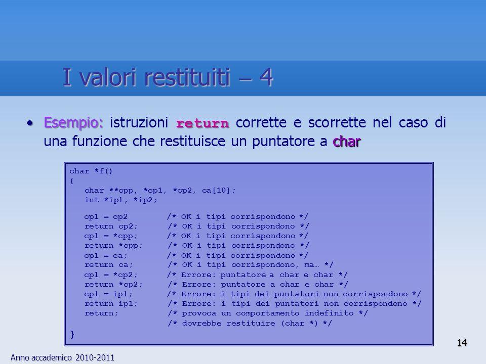 Anno accademico 2010-2011 14 Esempio: return charEsempio: istruzioni return corrette e scorrette nel caso di una funzione che restituisce un puntatore a char char *f() { char **cpp, *cp1, *cp2, ca[10]; int *ip1, *ip2; cp1 cp2 /* OK i tipi corrispondono */ return cp2; /* OK i tipi corrispondono */ cp1 *cpp; /* OK i tipi corrispondono */ return *cpp; /* OK i tipi corrispondono */ cp1 ca; /* OK i tipi corrispondono */ return ca; /* OK i tipi corrispondono, ma… */ cp1 *cp2; /* Errore: puntatore a char e char */ return *cp2; /* Errore: puntatore a char e char */ cp1 ip1; /* Errore: i tipi dei puntatori non corrispondono */ return ip1; /* Errore: i tipi dei puntatori non corrispondono */ return; /* provoca un comportamento indefinito */ /* dovrebbe restituire (char *) */ } I valori restituiti 4