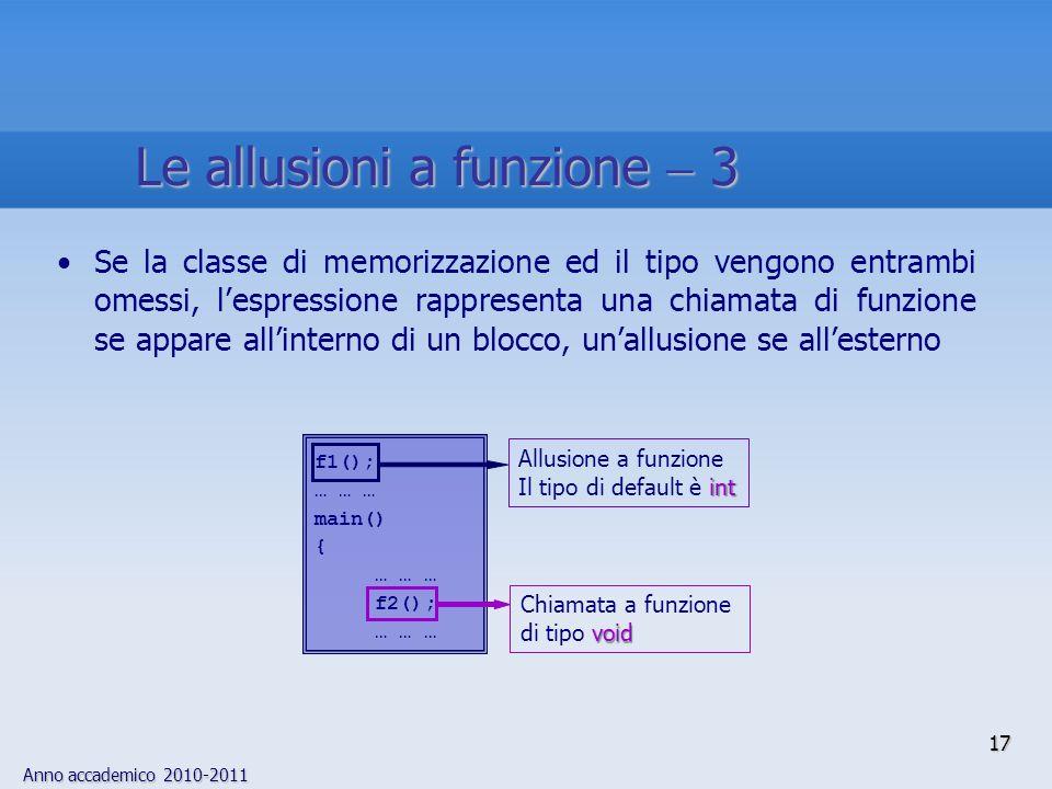 Anno accademico 2010-2011 17 Se la classe di memorizzazione ed il tipo vengono entrambi omessi, lespressione rappresenta una chiamata di funzione se appare allinterno di un blocco, unallusione se allesterno f1(); … … … main() { … … … f2(); … … … void Chiamata a funzione di tipo void int Allusione a funzione Il tipo di default è int Le allusioni a funzione 3