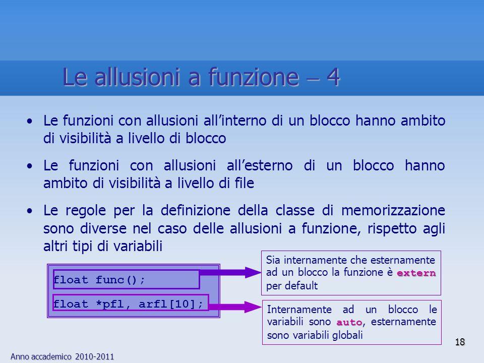 Anno accademico 2010-2011 18 Le funzioni con allusioni allinterno di un blocco hanno ambito di visibilità a livello di blocco Le funzioni con allusioni allesterno di un blocco hanno ambito di visibilità a livello di file Le regole per la definizione della classe di memorizzazione sono diverse nel caso delle allusioni a funzione, rispetto agli altri tipi di variabili float func(); float *pfl, arfl[10]; auto Internamente ad un blocco le variabili sono auto, esternamente sono variabili globali extern Sia internamente che esternamente ad un blocco la funzione è extern per default Le allusioni a funzione 4
