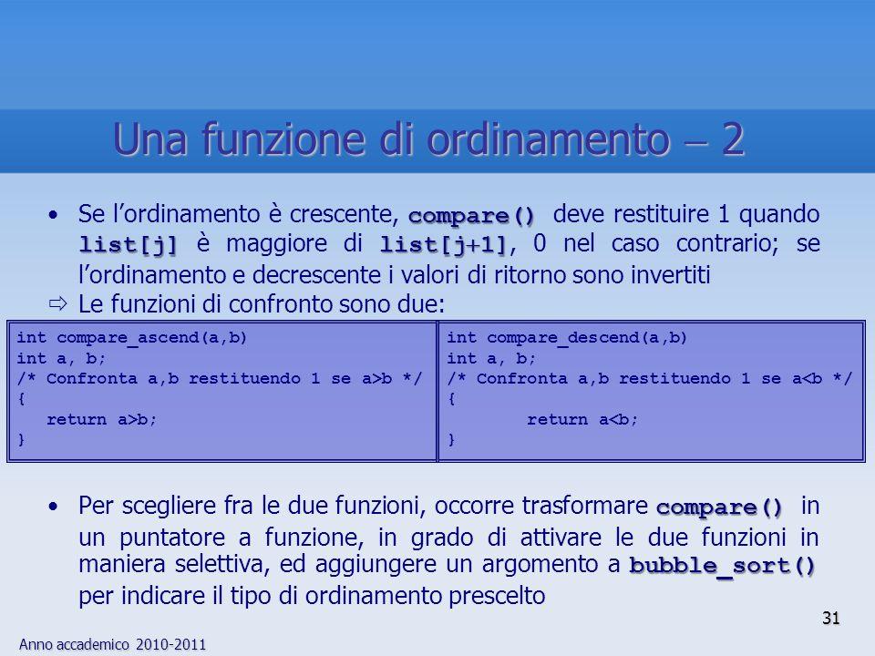 Anno accademico 2010-2011 31 compare() list[j]list[j 1]Se lordinamento è crescente, compare() deve restituire 1 quando list[j] è maggiore di list[j 1], 0 nel caso contrario; se lordinamento e decrescente i valori di ritorno sono invertiti Le funzioni di confronto sono due: compare() bubble_sort()Per scegliere fra le due funzioni, occorre trasformare compare() in un puntatore a funzione, in grado di attivare le due funzioni in maniera selettiva, ed aggiungere un argomento a bubble_sort() per indicare il tipo di ordinamento prescelto int compare_descend(a,b) int a, b; /* Confronta a,b restituendo 1 se a<b */ { return a<b; } int compare_ascend(a,b) int a, b; /* Confronta a,b restituendo 1 se a>b */ { return a>b; } Una funzione di ordinamento 2