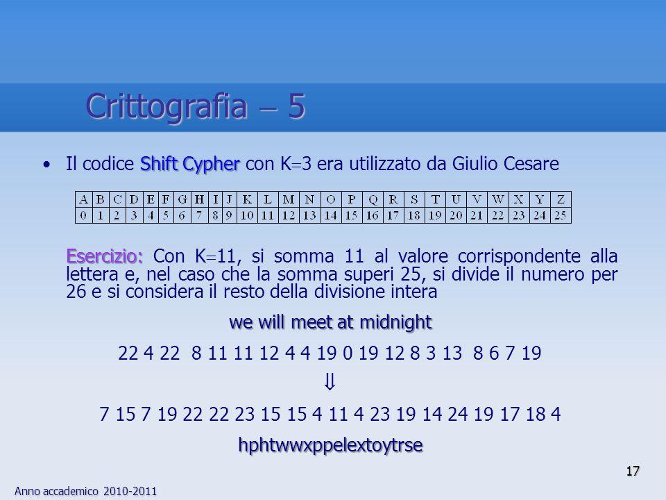 Anno accademico 2010-2011 Shift CypherIl codice Shift Cypher con K 3 era utilizzato da Giulio Cesare Esercizio: Esercizio: Con K 11, si somma 11 al valore corrispondente alla lettera e, nel caso che la somma superi 25, si divide il numero per 26 e si considera il resto della divisione intera we will meet at midnight 22 4 22 8 11 11 12 4 4 19 0 19 12 8 3 13 8 6 7 19 7 15 7 19 22 22 23 15 15 4 11 4 23 19 14 24 19 17 18 4hphtwwxppelextoytrse 17 Crittografia 5