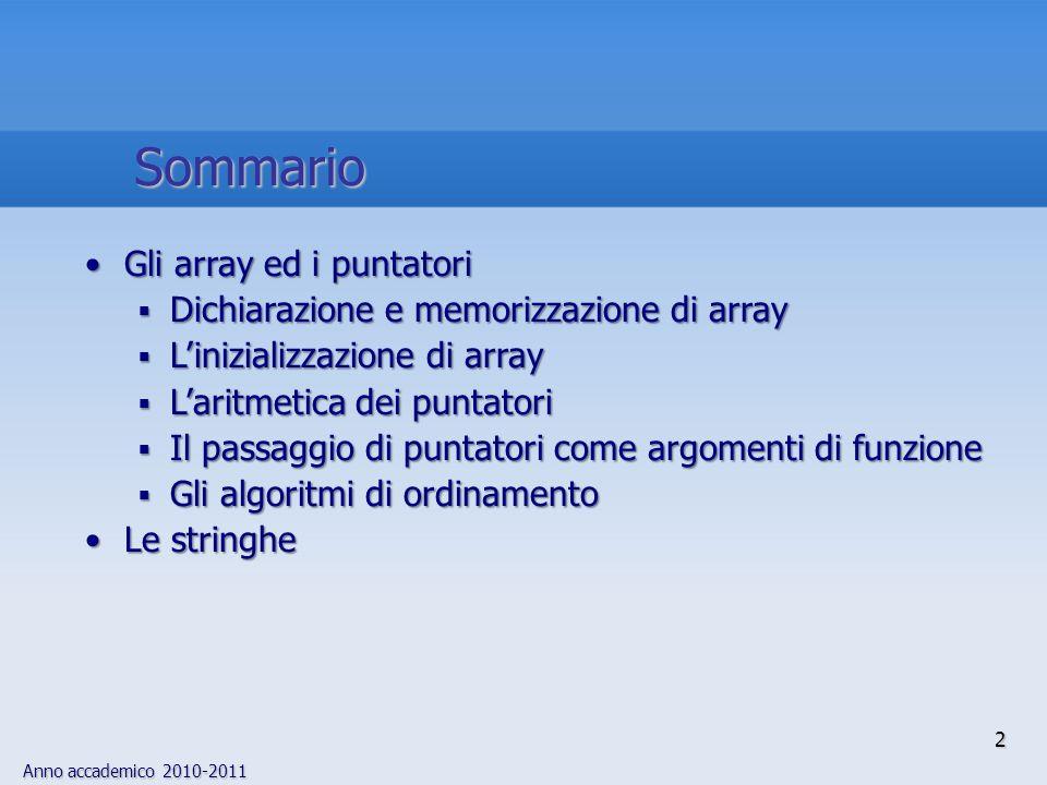 Anno accademico 2010-2011 2 Sommario Gli array ed i puntatoriGli array ed i puntatori Dichiarazione e memorizzazione di array Dichiarazione e memorizzazione di array Linizializzazione di array Linizializzazione di array Laritmetica dei puntatori Laritmetica dei puntatori Il passaggio di puntatori come argomenti di funzione Il passaggio di puntatori come argomenti di funzione Gli algoritmi di ordinamento Gli algoritmi di ordinamento Le stringheLe stringhe