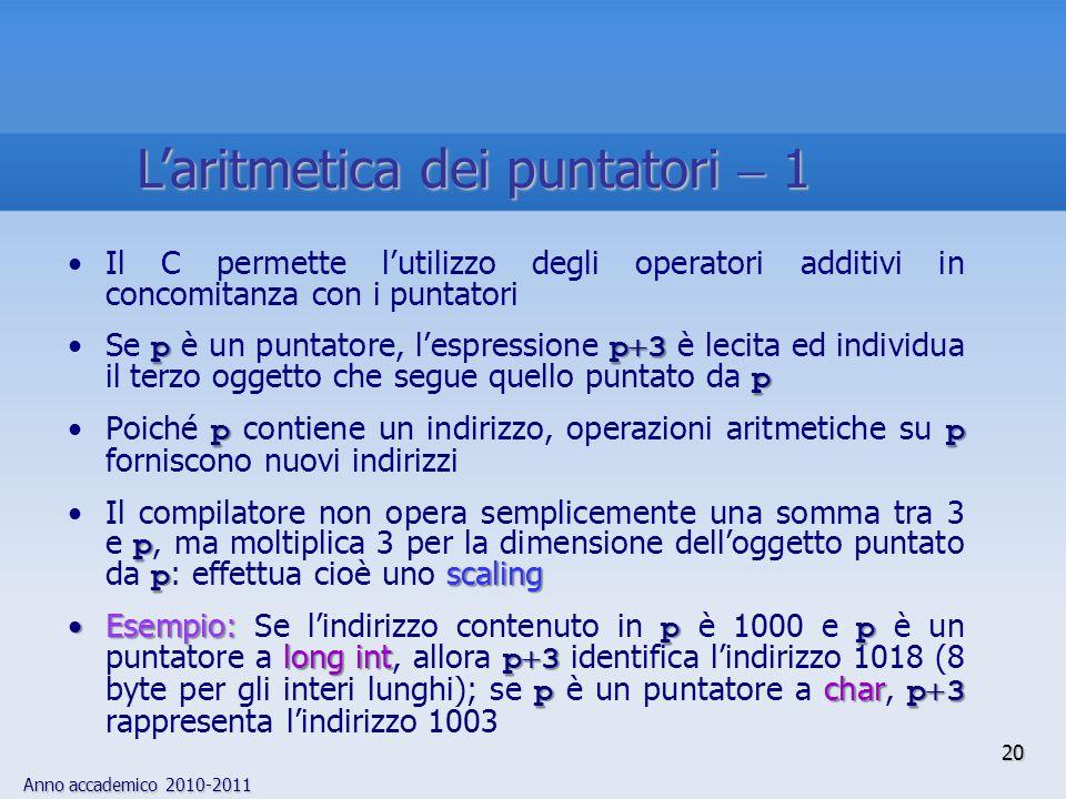 Anno accademico 2010-2011 Il C permette lutilizzo degli operatori additivi in concomitanza con i puntatori pp 3 pSe p è un puntatore, lespressione p 3 è lecita ed individua il terzo oggetto che segue quello puntato da p ppPoiché p contiene un indirizzo, operazioni aritmetiche su p forniscono nuovi indirizzi p p scalingIl compilatore non opera semplicemente una somma tra 3 e p, ma moltiplica 3 per la dimensione delloggetto puntato da p : effettua cioè uno scaling Esempio: pp long int p 3 p char p 3Esempio: Se lindirizzo contenuto in p è 1000 e p è un puntatore a long int, allora p 3 identifica lindirizzo 1018 (8 byte per gli interi lunghi); se p è un puntatore a char, p 3 rappresenta lindirizzo 1003 20 Laritmetica dei puntatori 1