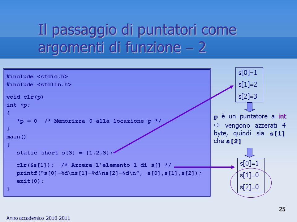 Anno accademico 2010-2011 include void clr(p) int *p; { *p 0 /* Memorizza 0 alla locazione p */ } main() { static short s[3] {1,2,3}; clr(&s[1]); /* Azzera lelemento 1 di s[] */ printf(s[0] %d\ns[1] %d\ns[2] %d\n, s[0],s[1],s[2]); exit(0); } s[0] 1 s[1] 2 s[2] 3 s[0] 1 s[1] 0 s[2] 0 p int s[1] s[2] p è un puntatore a int vengono azzerati 4 byte, quindi sia s[1] che s[2] 25 Il passaggio di puntatori come argomenti di funzione 2