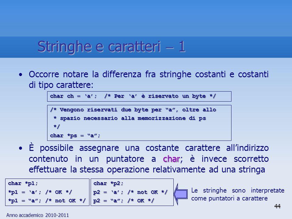Anno accademico 2010-2011 Occorre notare la differenza fra stringhe costanti e costanti di tipo carattere: charÈ possibile assegnare una costante carattere allindirizzo contenuto in un puntatore a char; è invece scorretto effettuare la stessa operazione relativamente ad una stringa char ch a; /* Per a è riservato un byte */ /* Vengono riservati due byte per a, oltre allo * spazio necessario alla memorizzazione di ps * spazio necessario alla memorizzazione di ps */ */ char *ps a; char *p2; p2 a; /* not OK */ p2 a; /* OK */ char *p1; *p1 a; /* OK */ *p1 a; /* not OK */ Le stringhe sono interpretate come puntatori a carattere 44 Stringhe e caratteri 1