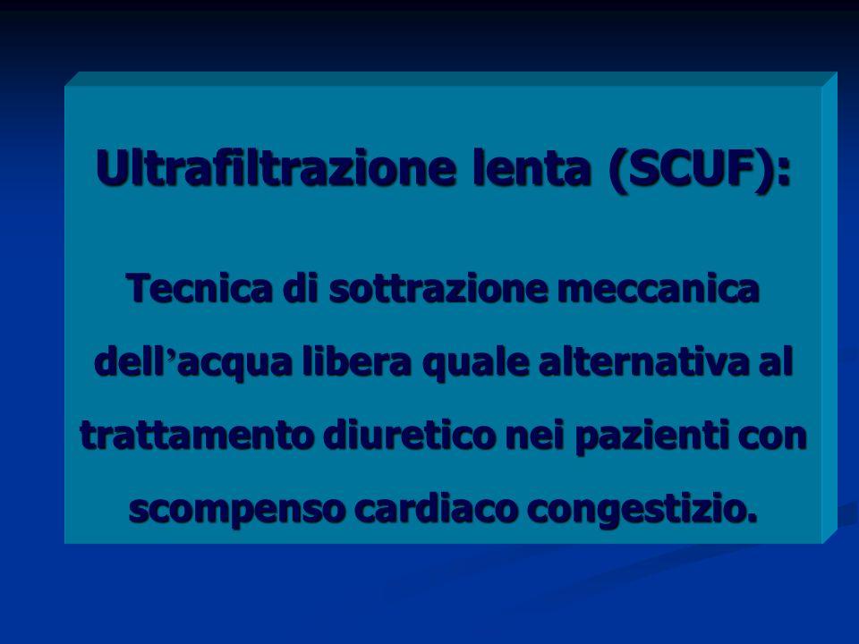Ultrafiltrazione lenta (SCUF): Tecnica di sottrazione meccanica dell acqua libera quale alternativa al trattamento diuretico nei pazienti con scompenso cardiaco congestizio.