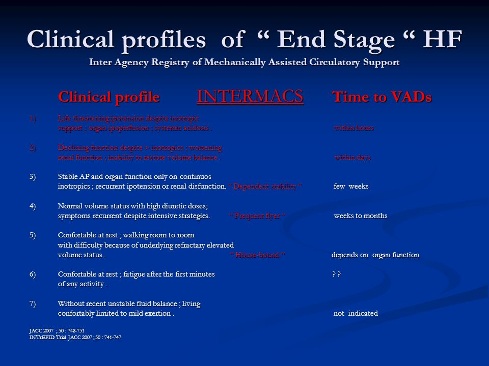 Clinical profiles of End Stage HF Inter Agency Registry of Mechanically Assisted Circulatory Support Clinical profile INTERMACS Time to VADs Clinical