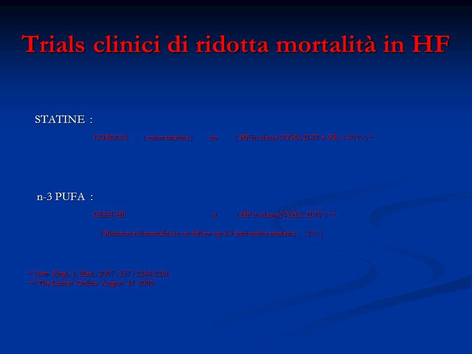 Trials clinici di ridotta mortalità in HF Terapia infusiva nelle riacutizzazioni : NITRODERIVATI .
