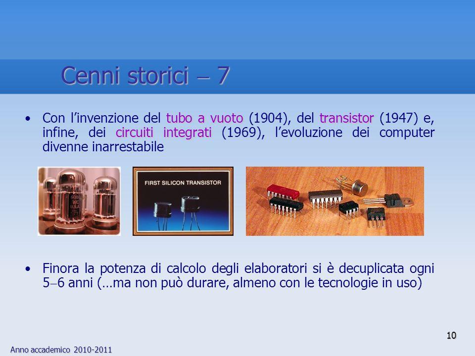 Anno accademico 2010-2011 10 tubo a vuoto transistor circuiti integratiCon linvenzione del tubo a vuoto (1904), del transistor (1947) e, infine, dei c