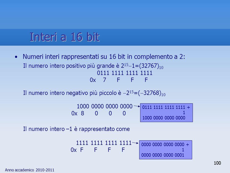 Anno accademico 2010-2011 100 Numeri interi rappresentati su 16 bit in complemento a 2: Il numero intero positivo più grande è 2 15 1=(32767) 10 0111