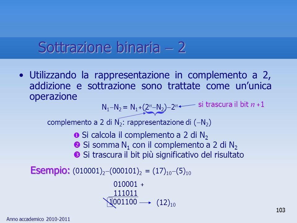 Anno accademico 2010-2011 103 Utilizzando la rappresentazione in complemento a 2, addizione e sottrazione sono trattate come ununica operazione Si cal