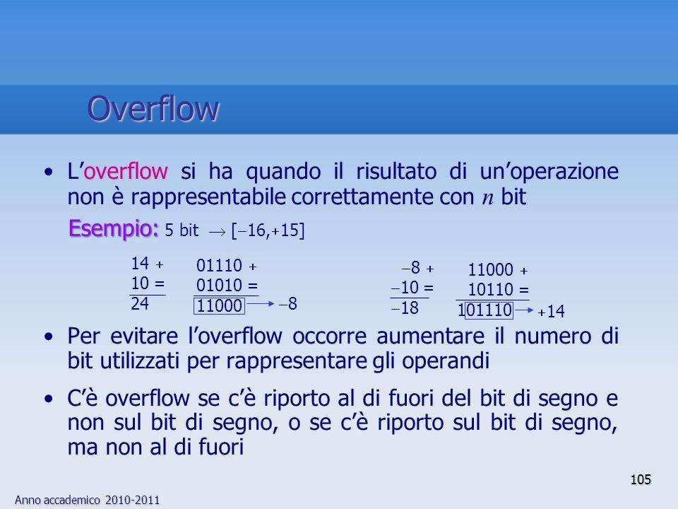 Anno accademico 2010-2011 105 overflowLoverflow si ha quando il risultato di unoperazione non è rappresentabile correttamente con n bit Per evitare lo
