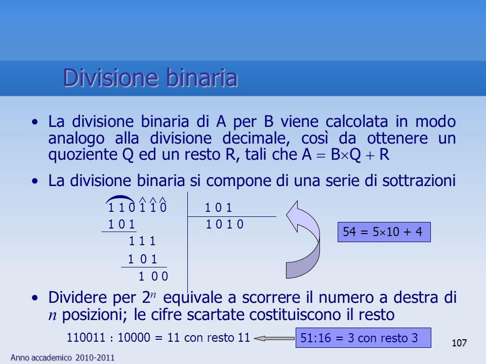 Anno accademico 2010-2011 107 La divisione binaria di A per B viene calcolata in modo analogo alla divisione decimale, così da ottenere un quoziente Q