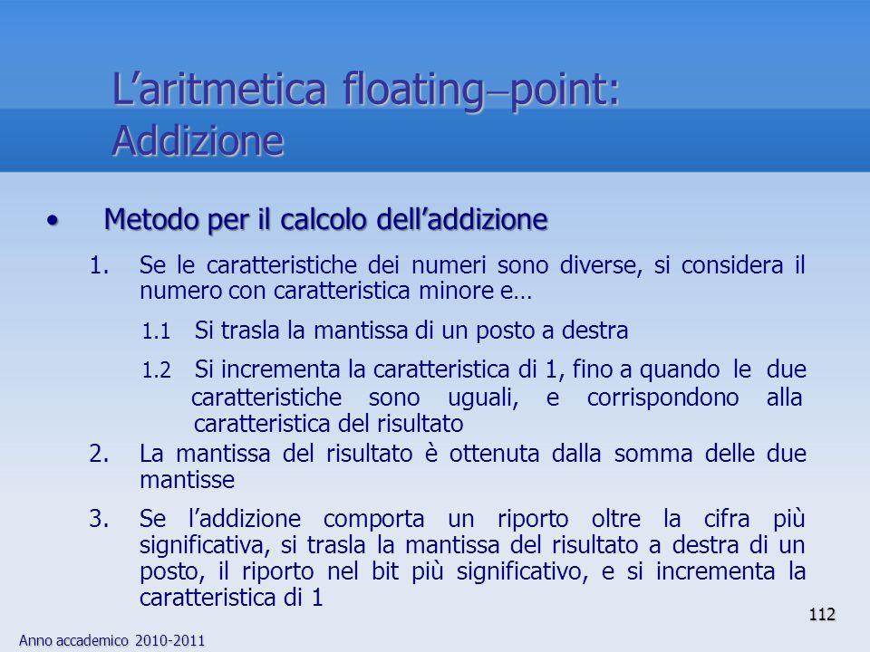 Anno accademico 2010-2011 112 Metodo per il calcolo delladdizioneMetodo per il calcolo delladdizione 1.Se le caratteristiche dei numeri sono diverse,
