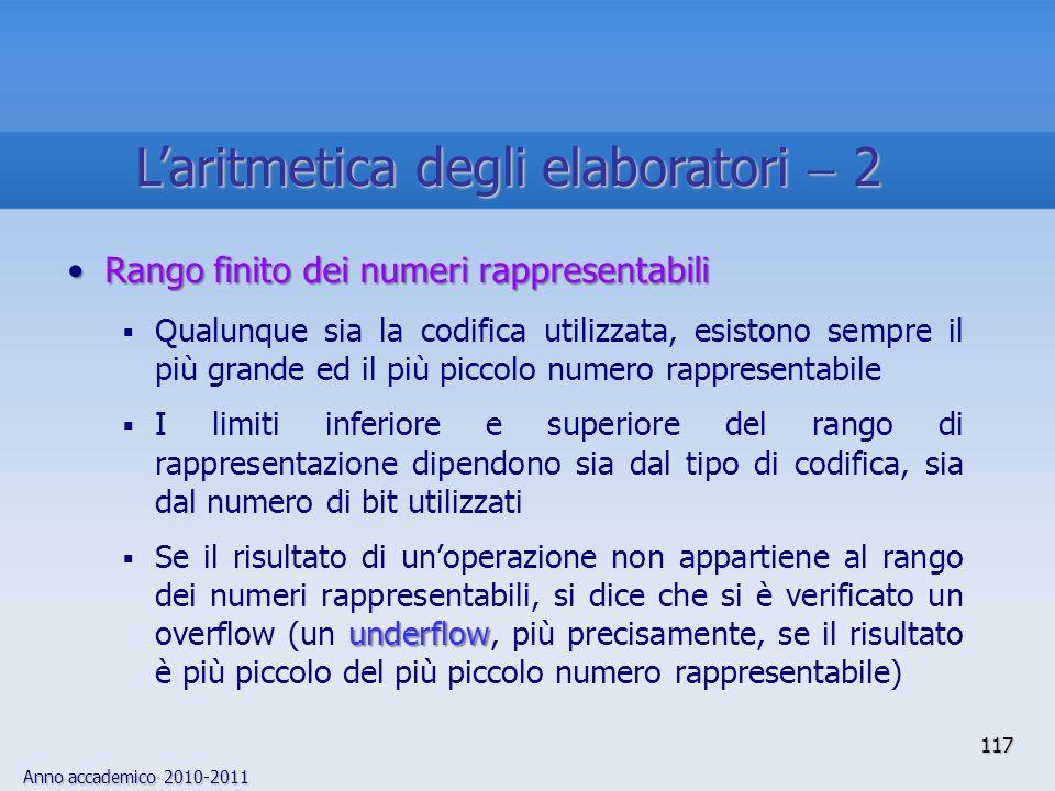 Anno accademico 2010-2011 117 Rango finito dei numeri rappresentabiliRango finito dei numeri rappresentabili Qualunque sia la codifica utilizzata, esi