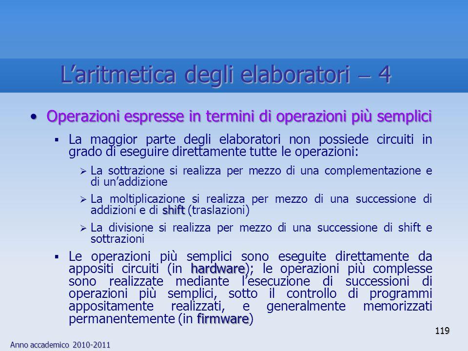 Anno accademico 2010-2011 119 Operazioni espresse in termini di operazioni più sempliciOperazioni espresse in termini di operazioni più semplici La ma