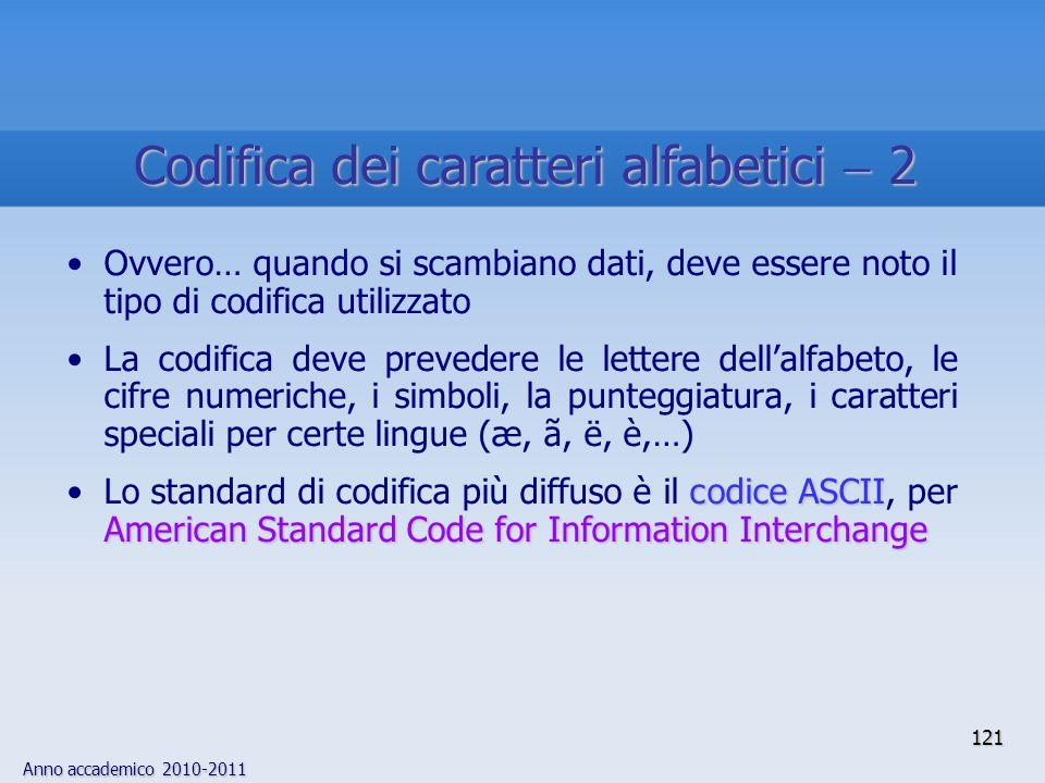 Anno accademico 2010-2011 121 Ovvero… quando si scambiano dati, deve essere noto il tipo di codifica utilizzato La codifica deve prevedere le lettere