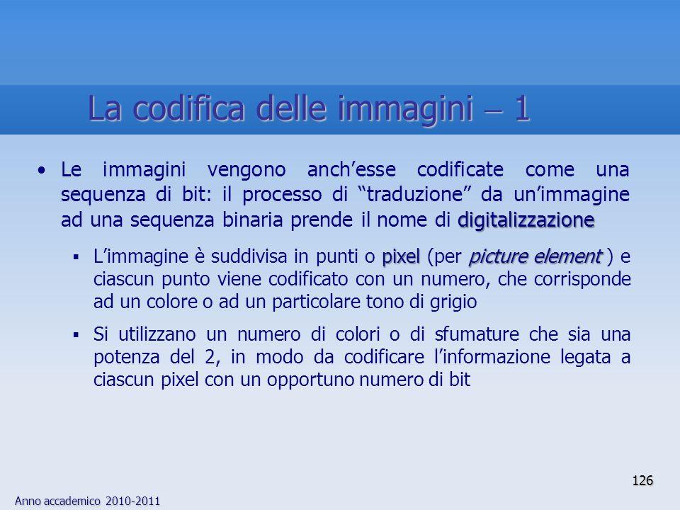 Anno accademico 2010-2011 digitalizzazioneLe immagini vengono anchesse codificate come una sequenza di bit: il processo di traduzione da unimmagine ad