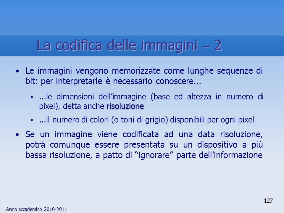 Anno accademico 2010-2011 Le immagini vengono memorizzate come lunghe sequenze di bit: per interpretarle è necessario conoscere... risoluzione...le di