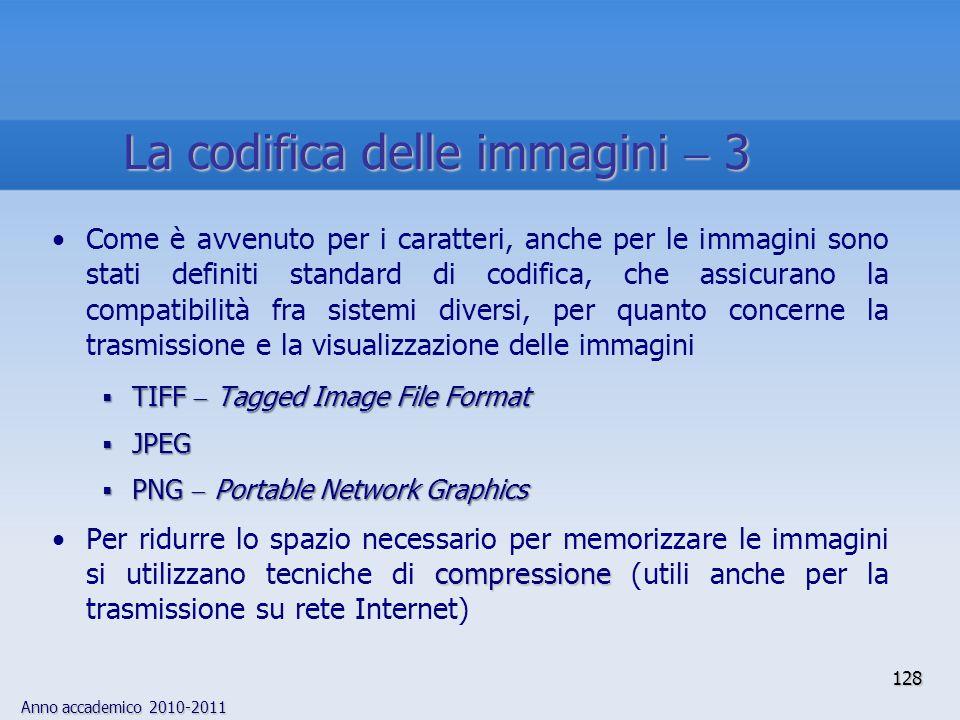 Anno accademico 2010-2011 Come è avvenuto per i caratteri, anche per le immagini sono stati definiti standard di codifica, che assicurano la compatibi