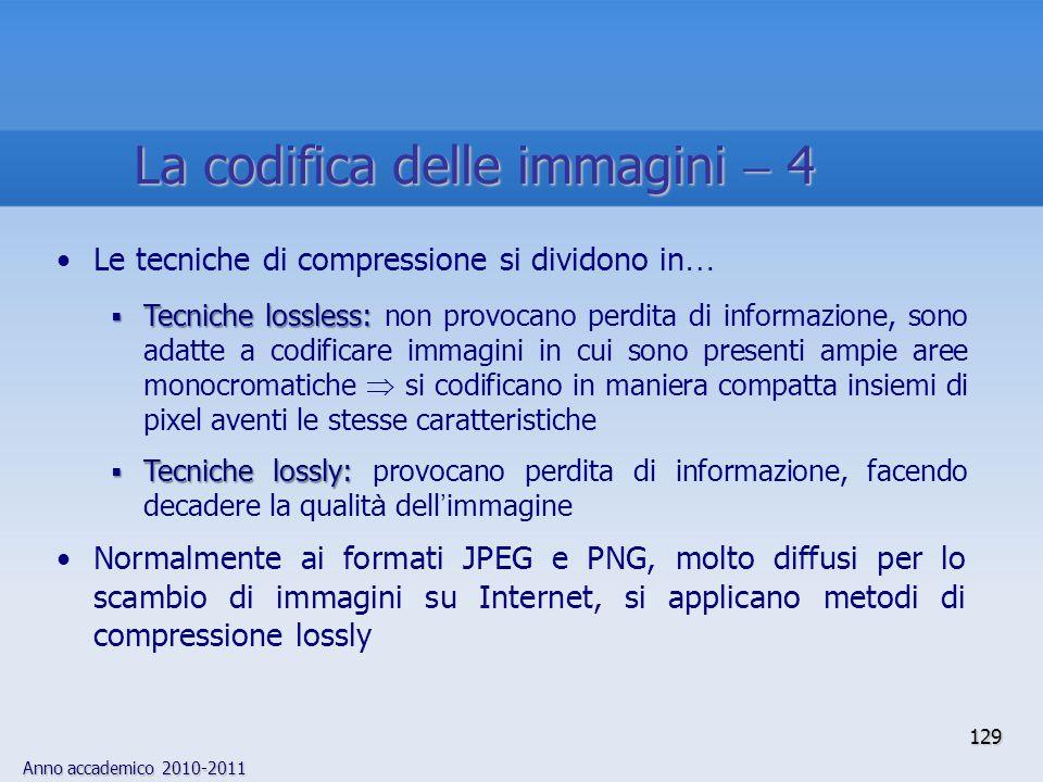 Anno accademico 2010-2011 La codifica delle immagini 4 Le tecniche di compressione si dividono in … Tecniche lossless: Tecniche lossless: non provocan
